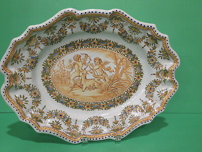 Antique Quimper Platter Mid 19th Century Cherub Putti Deer