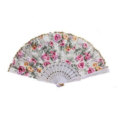 Flower Pattern Lace Trim White Chinese Folding Hand Fan A7C1
