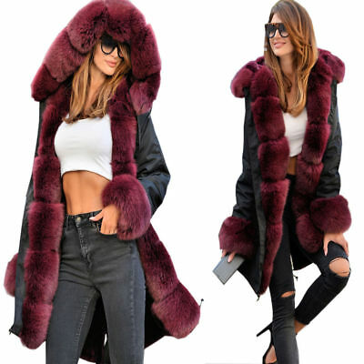 New Fashion Womens Parka Long Coat Thicken Warm Hooded Fur Military Jacket US