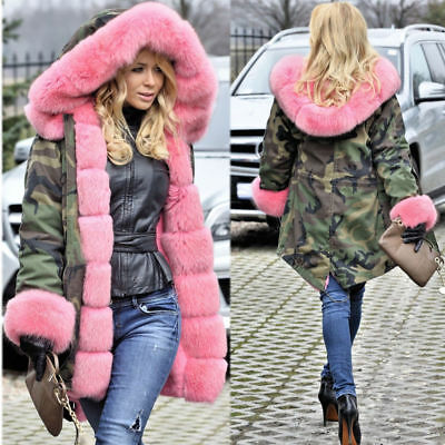 Camouflage Jacket Women's Army Parka Winter Thick Warm Hooded Fur Lined Coat US