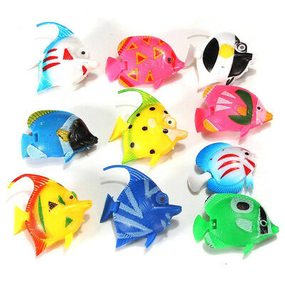 10 pcs plastic small Fake fish for Aquarium decoration G3S6