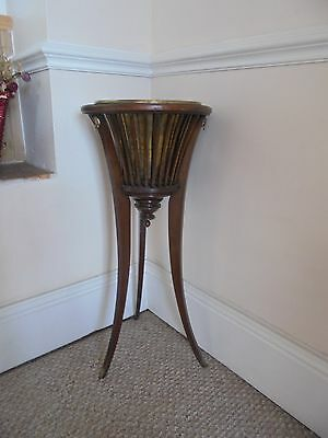 Antique Edwardian Wooden Jardiniere With Original Brass Liner