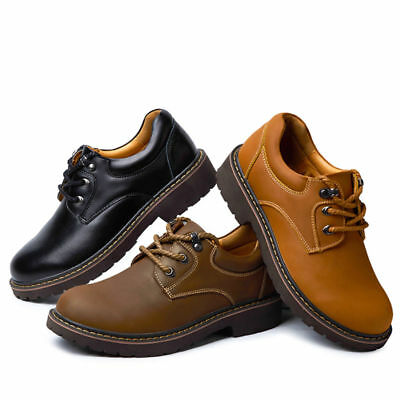 New Casual Men Leather Shoes Black / Brown Big Size Man Lace-up Oxfords US