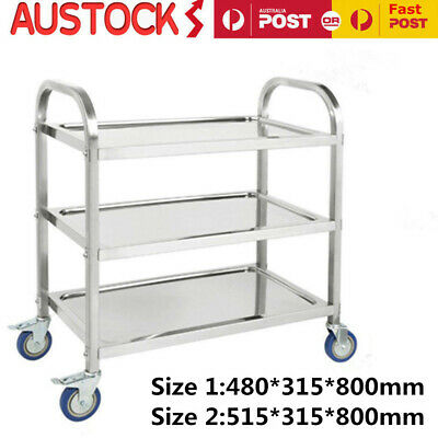3 Tiers Stainless Steel Trolley Food Cart Kitchen Dining Serving Utility Island