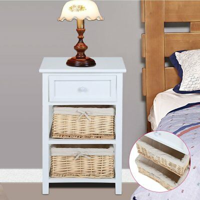 Wicker Storage Bedside Table Unit Cabinet 3 Drawers Nightstand Bedroom