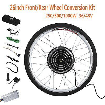 "26"" Electric Bicycle E-Bike Front Rear Wheel Conversion Kit Cycling Motor RO"