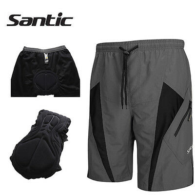 SANTIC Cycling Shorts MTB Bike Bicycle Shorts Padded Baggy Pants Loose Mens Gray