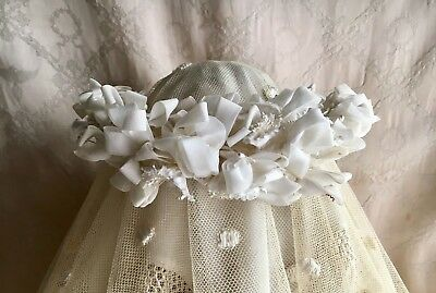 Antique French Wedding Crown Tiara Silk Blossoms Flowers Ribbons & Faux Pearls