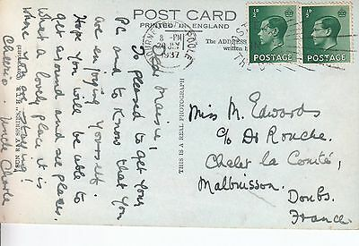 F 773 Bournemouth Poole July 1937 postcard to France 2 x 1/2d KEVIII stamps