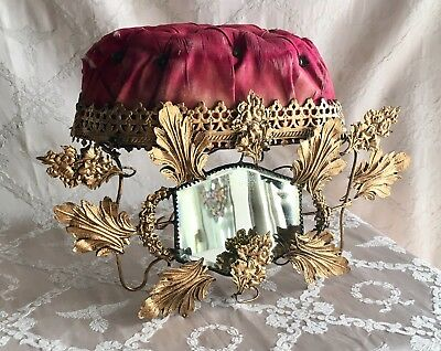 Antique 19thC French Chateau Wedding Crown Silk & Gilt Boudoir Stand Display