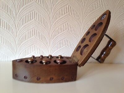 Set of Vintage BRONZE / BRASS WEIGHTS IN WOOD 'CLOTHES IRON' BOX