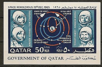 Qatar 1965 Rendezvous Miniature Sheet Imperf Revaluation Surch Mnh