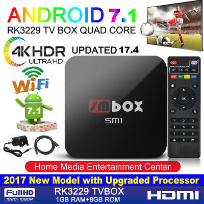 2017 MX Quad Core Android TV Box 4K K 17.3 Ultra HD Pro-Media Player Streamer