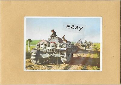 Old W.w.2 Postcard Convoy Of Panzer Tanks With Soldiers German Army