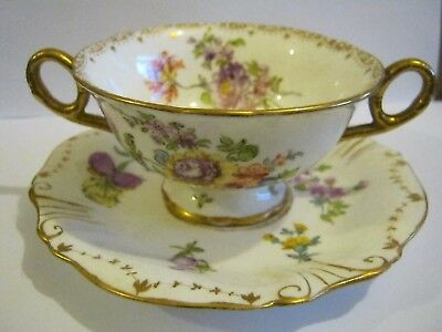 Vintage Coalport Double Handled Cup And Saucer