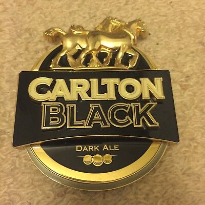 Carlton Black Beer Tap Badge, Decal, Top