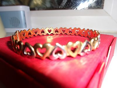9Ct R/gold Hinged Heart Bangle .ex Condition. Weighs 10.82 Grms.boxed Not Scrap