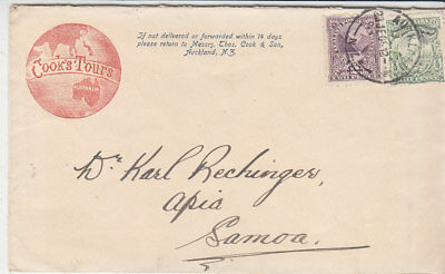 New Zealand 1906 Nice Cooks Tours ( Thomas Cook) envelope to Samoa
