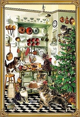 CHRISTMAS CAT & KITTEN ADVENT CALENDAR CARD by VERLAG of Germany DECOUPAGE STYLE
