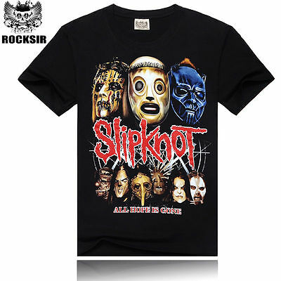 Fashion Mens 3D Rock Slipknot Cotton fitted T-Shirts top tee Short Sleeve Black