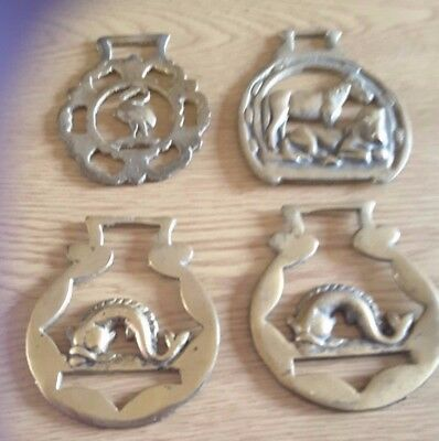 4 Vintage Collectable Horse Brasses