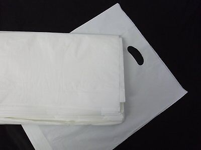 """STRONG WHITE Patch Handle Carrier Bags 15"""" x 18"""" + 3"""" Gift Retail Shopping Bags"""