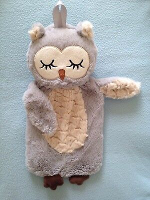 Adorable Fluffy BABY OWL HOT WATER BOTTLE & COVER SET