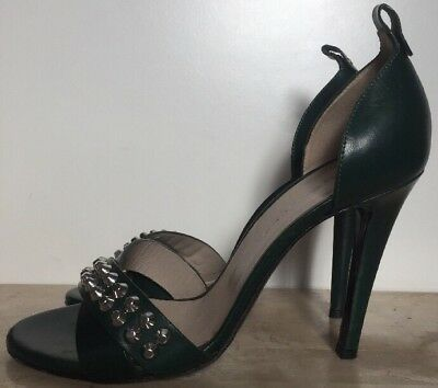 Diesel Black Gold VERO CUOIO Green Studded Open-toed Shoes Size 37 Made in Italy