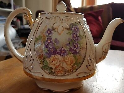 Vintage yellow roses & blue flowers heavily gilded large teapot .
