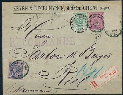 Belgium 1889 , Registered Cover Gand To Kiel W/ Nice Franking.#l28