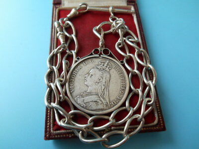 ANTIQUE SOLID SILVER DOUBLE ALBERT CHAIN & MOUNTED CROWN FOB 1889 NOT SCRAP 80gm