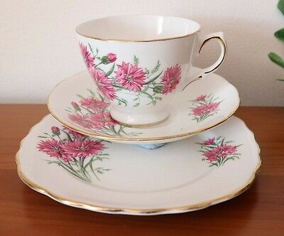 ROYAL VALE CHINA TRIO Pink Chrysanthemums CUP SAUCER PLATE VINTAGE