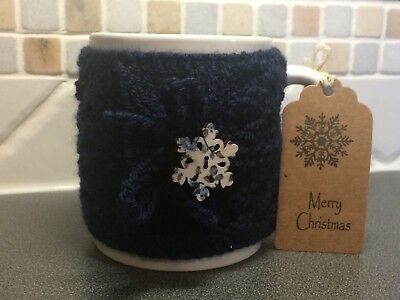 Hand Knitted Navy Blue Mug Cosy With  Pretty Snowflake Button