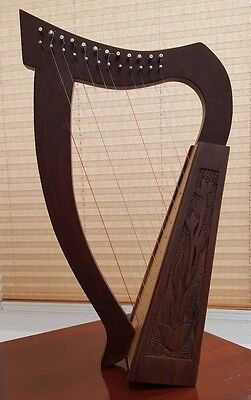 HARP 12-Strings Rosewood with Hand Engraving Includes Bag and Tuning Key