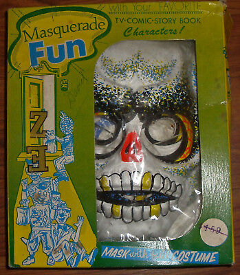 VINTAGE AUSTIN ART HALLOWEEN COSTUME CHILDS MEDIUM SKELETON ORIGINAL BOX 1960's