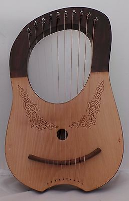 Lyre Harp 10-Metal Strings,Hand Crafted, With Bag and Tuning Key