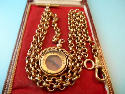 ANTIQUE ROLLED GOLD DOUBLE ALBERT CHAIN & COMPASS SPINNING FOB NOT SCRAP 33.5gm