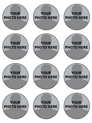 YOUR OWN PHOTO IMAGE PERSONALISED CUSTOM edible cupcake Toppers Wafer Icing x 12