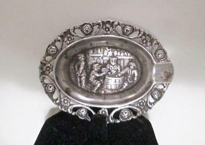 24 Gram Vintage 830 Silver Repousse Detailed Jewelry/ Pill Ash Tray Signed