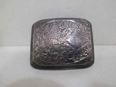 Wadsworth Art Deco Repousse Sterling Silver Hand Chased Scarf Belt Buckle