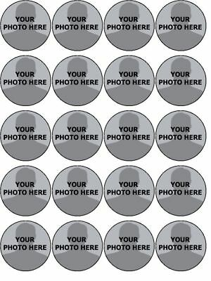 YOUR OWN PHOTO IMAGE PERSONALISED CUSTOM edible cupcake Toppers Wafer Icing x 20