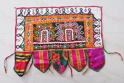 Indian Vintage Embroidered Banjara Mirror Work Tapestry Wall Hanging Decor
