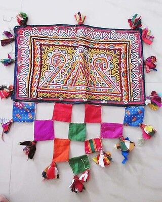 Indian Vintage Embroidered Banjara Mirror Work Tapestry Wall Hanging Decor 2016