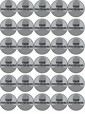YOUR OWN PHOTO IMAGE PERSONALISED CUSTOM edible cupcake Toppers Wafer Icing x 30