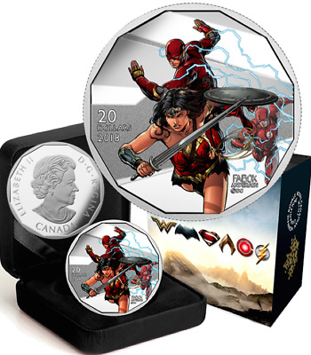 2018 Wonder Woman & Flash $20 1OZ Pure Silver Proof Coin Canada: Justice League