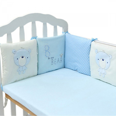 Qianle 6pcs Baby Cot Bed Bumper Breathable Nursery Bedding Set 30*30cm Blue