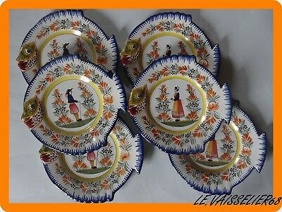 6 Vintage Fish Plate French Faience Henriot Quimper Breton