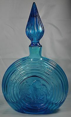 Blue Glass EAGLE Decanter Concentric Rings Circles