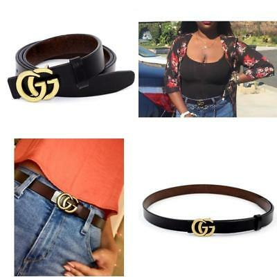 Womens Genuine Leather Thin Belts For Jeans With Fashion Letter Buckle 0.9″ Wide