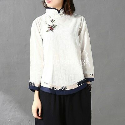 Women Cotton Linen Hand Embroidered Tunic Top Peasant Vintage Ethnic Blouse